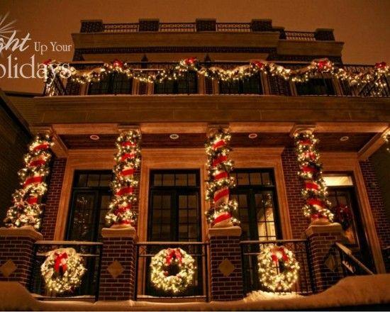 exterior lighting idea ... lights, garland and ribbon up the columns