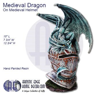 Medieval Dragon Sitting on Medieval Helmet