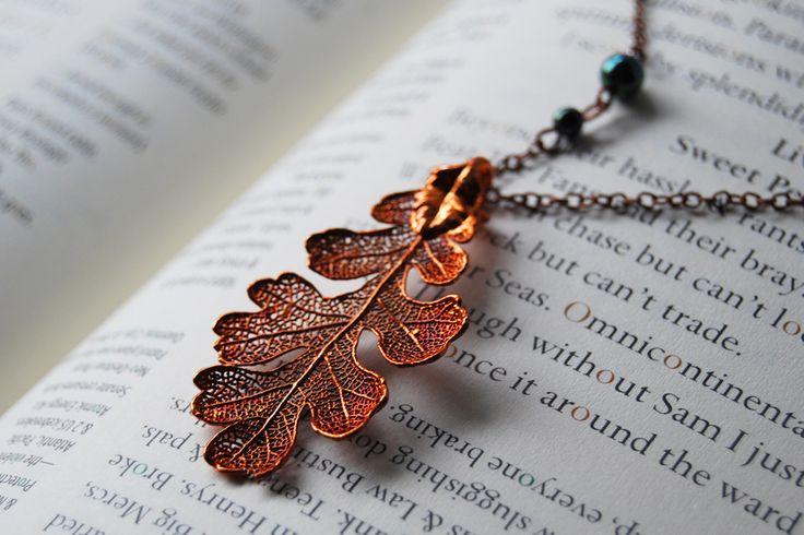Large fallen copper oak leaf necklace leaf necklace oak leaves and