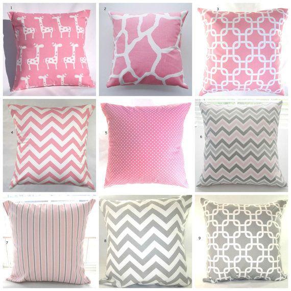 "Pillows, Pink, Grey, Baby, Nursery, Decorative Throw Pillows, Throw Pillows, Giraffes, Elephants, Pink Chevron, Gray Chevron, 18"" x 18"" on Etsy, $17.00"