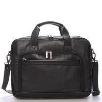 #BellugioLance Luxusní pánská kožená taška přes rameno černá - Bellugio Lance