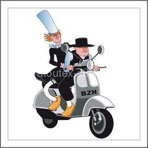 sticker un breton et une bretonne en scooter