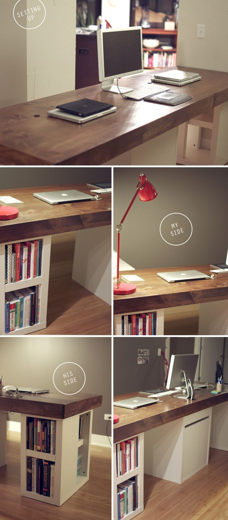 DIY OFFICE MAKEOVER...functioning dual desks using minimal space. Can we make these and chuck those Huge desks for our interns and part timers? Maybe even out of the old desks!
