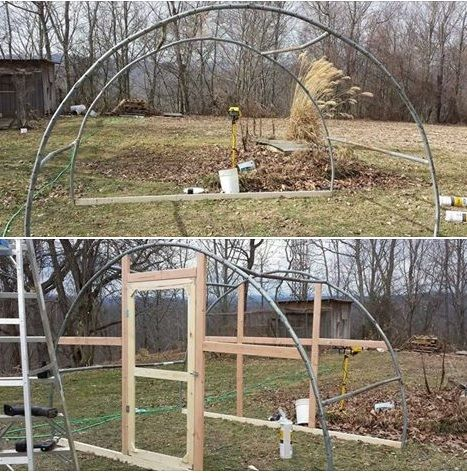 greenhouse idea using old trampoline frame