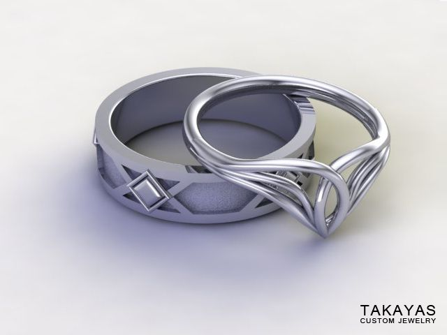 Lord of the Rings Inspired Elven Wedding Ring Set — Takayas Custom Jewelry