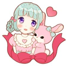 The original Sticker of girls and rabbits.