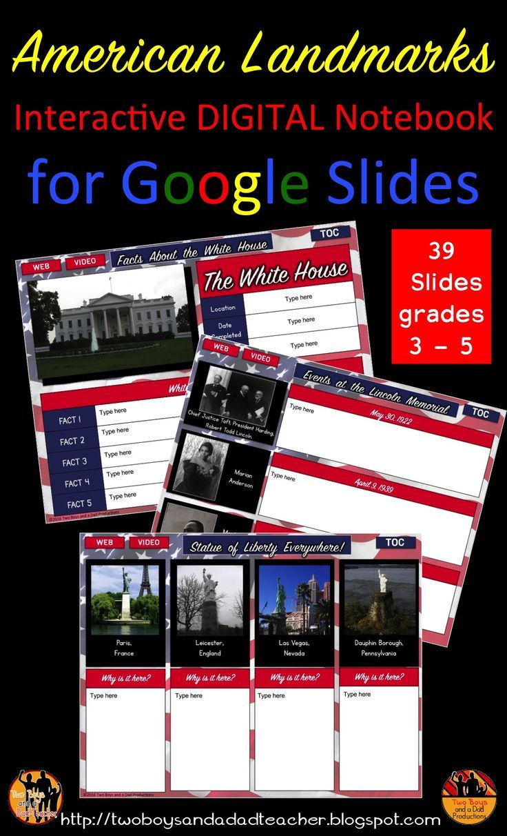 Are you already teaching about America's landmarks and using Interactive Notebooks? Then take the next step to having your students use an Interactive DIGITAL Notebook on America's landmarks.  This Google Slides ready 39 slide notebook provides practice for students to research and cite evidence.  This interactive digital notebook for students is for grades 3 - 5. Includes:  White House, Washington Monument, Lincoln Memorial, Jefferson Memorial, Mount Rushmore and the Statue of Liberty.