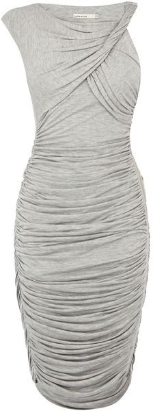 Karen Millen Ruched Jersey TShirt Dress in Gray (grey) | Lyst