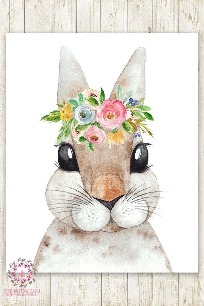 Boho Watercolor Bunny Rabbit Woodland Wall Art Print