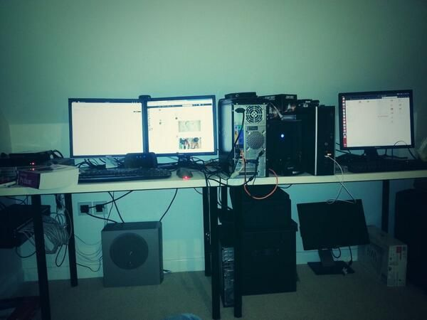"Thanks to @linuxnewb for this ""ultimate geekdom"" workspace pic! ""I need better cable management,"" he says."