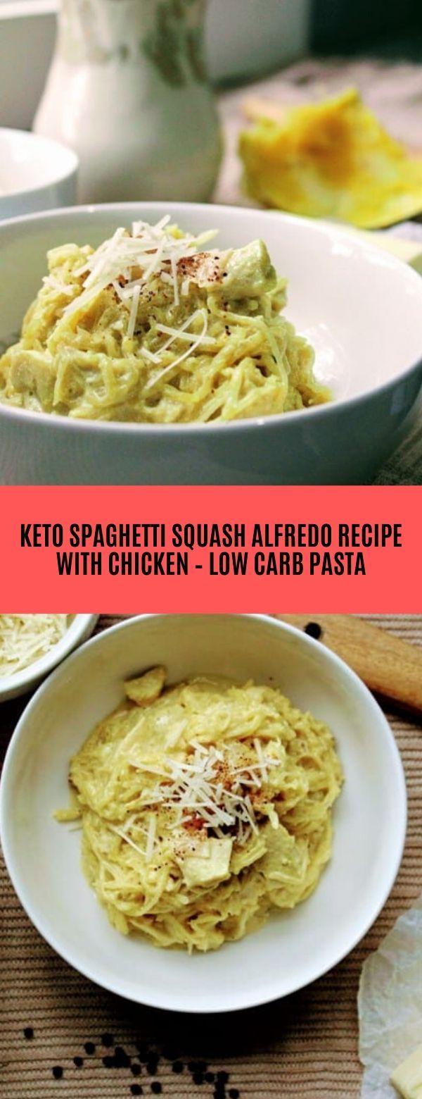 KETO SPAGHETTI SQUASH ALFREDO WITH CHICKEN Spaghetti