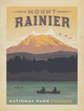 Art & Soul of America: Mount Rainier Gallery Print - midcentury - Fine Art Prints - Anderson Design Group