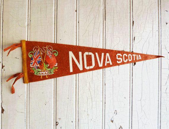 Vintage Nova Scotia Canada Souvenir Pennant - Old Canadian Flag - Mid-Century 1950s