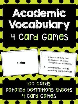 Help students master academic vocabulary with these FOUR Academic Vocabulary Card Games!