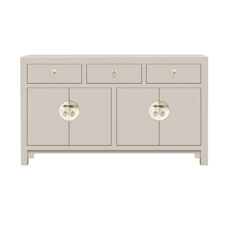 This perfect Large Oyster Grey Chinese Sideboard is a perfect statement item with practical large drawers and cupboards with a removable shelf Black lacquer finish with gold leaf edging and distressed metal handles Great dimensions and perfect storage for a hallway, living room or bedroom, the finish and design fit…