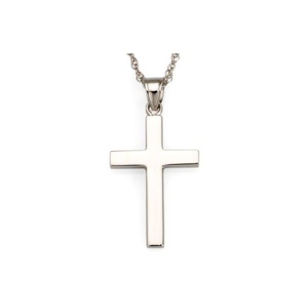 Ross-Simons 14kt White Gold Polished Cross Pendant Necklace. 18 inches (705 BRL) ❤ liked on Polyvore featuring jewelry, necklaces, white gold, white gold jewelry, white gold necklace, white gold rope chain necklace, white gold jewellery and rope chain necklace