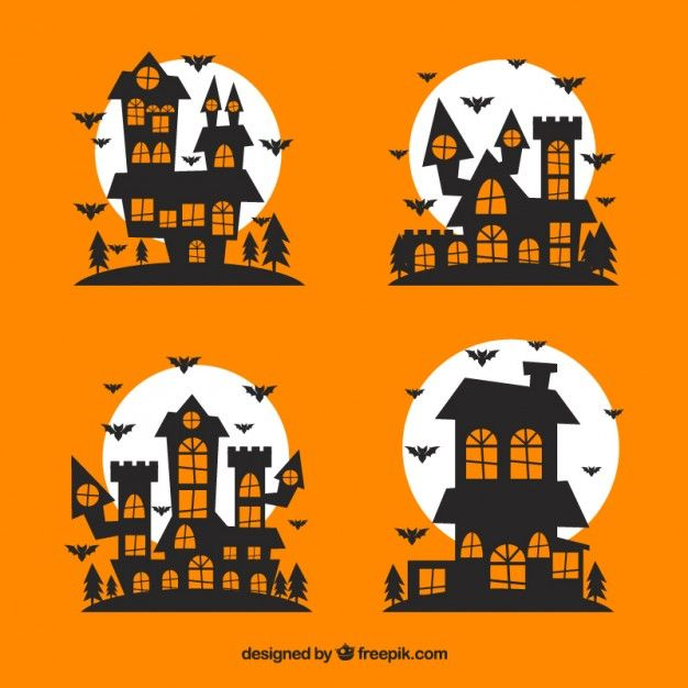Casas encantadas de halloween Vector Gratis. Fondo amarillo.