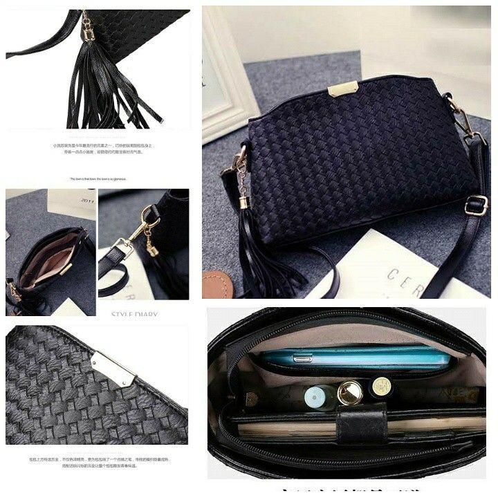 Tas korea best quality gaya anyaman.. black.. harga 170rb.. silahkan cek katalog lengkap kami di www.tokopedia.com/grosirkorea