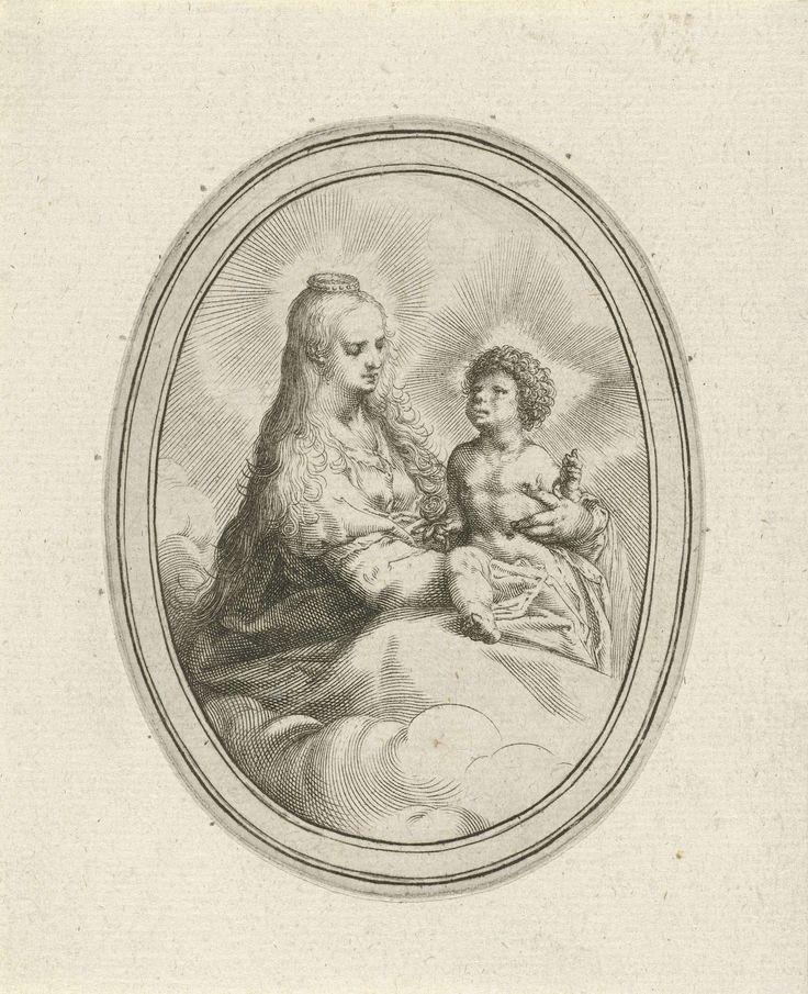 Harmen Jansz Muller | Maria met kind, Harmen Jansz Muller, 1593 - 1597 | Maria, gezeten op een wolk, met het Christuskind op haar schoot. Christus houdt een roos in de hand, Maria draagt een kroon.