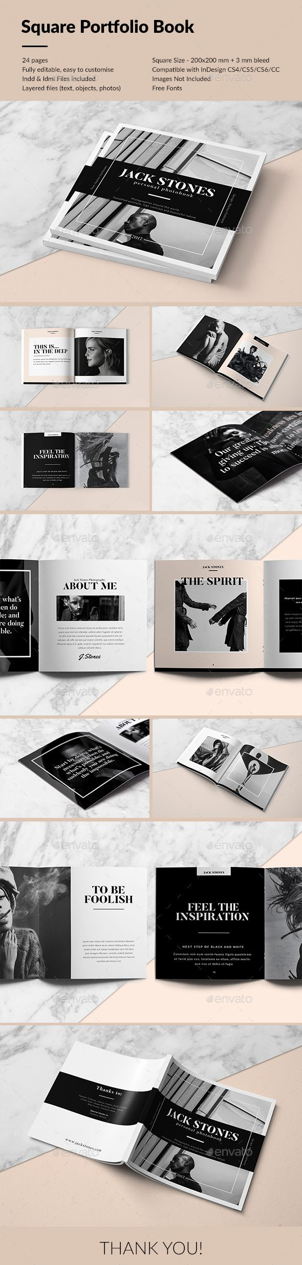 Square Portfolio Book Template InDesign INDD. Download here: http://graphicriver.net/item/square-portfolio-book/15918450?ref=ksioks