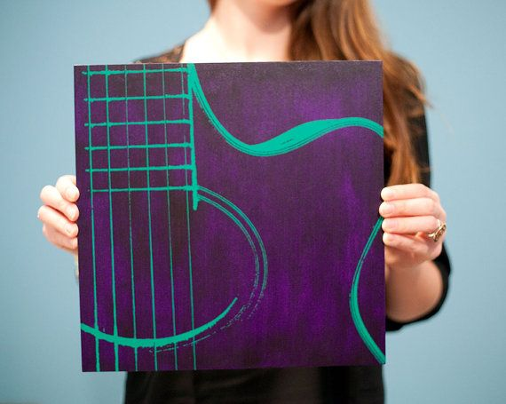 12 x 12 Acoustic Guitar Print on Wood Canvas Purple by iNKthePRINT, $40.00