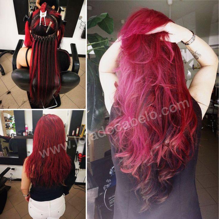 250 gramas de cabelo liso de 60/65 cms - colorido a vermelho. Método de aplicação: Nó Italiano  www.lojadocabelo.com