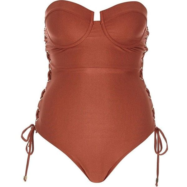 River Island Brown eyelet side bustier swimsuit ($51) ❤ liked on Polyvore featuring swimwear, one-piece swimsuits, brown, swimsuits, brown one piece swimsuit, swimming costume, swimsuit swimwear, tall bathing suits and brown swimsuit