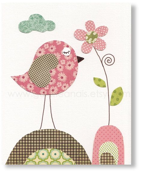 Nursery art prints, baby nursery decor, nursery wall art, nursery bird, nursery kids, Pink, Blooming 8x10 print from Paris. $14.00, via Etsy.