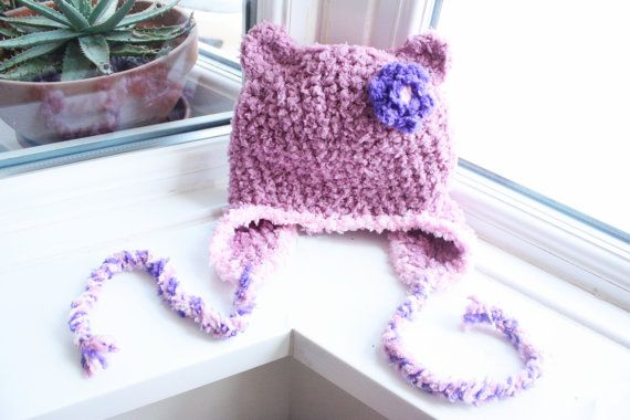 Newborn Plum Pink and Purple Flower Bear Hat With Earflaps.  Handmade with love by Babamoon - size 0 to 3m - Can be made in sizes Preemie to Adult and in other colours on request!