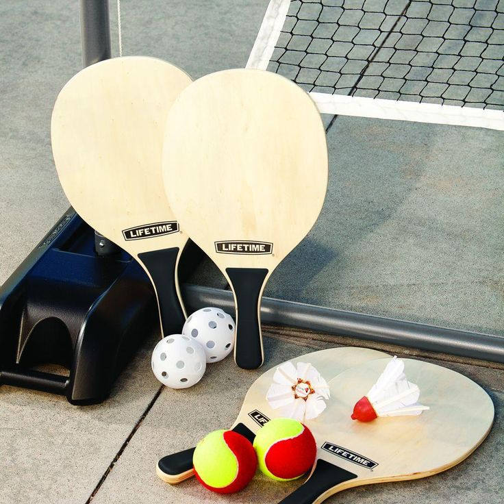 Three games in one-- Quick Start Tennis, Badminton. The all-weather net and poles have an easy telescoping adjustment that creates two different height settings (36 in. 61 in.) to accommodate a variety of games and players.  This portable design makes the set perfect for driveway, beach, pool, or backyard play.