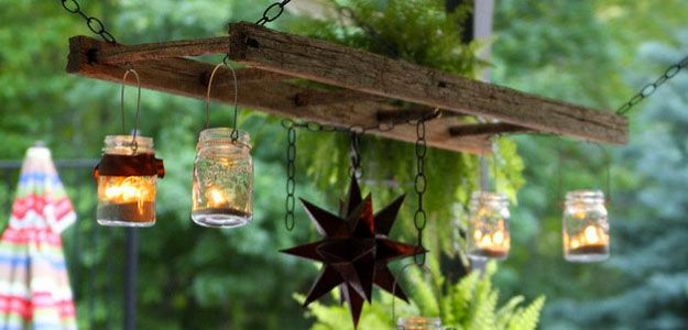 Outdoor Lanterns: Outdoor Lighting, Lanterns, Hanging, Repurposed, Mason Jars, Americana, Rustic Ladder, Moravian Star, DIY