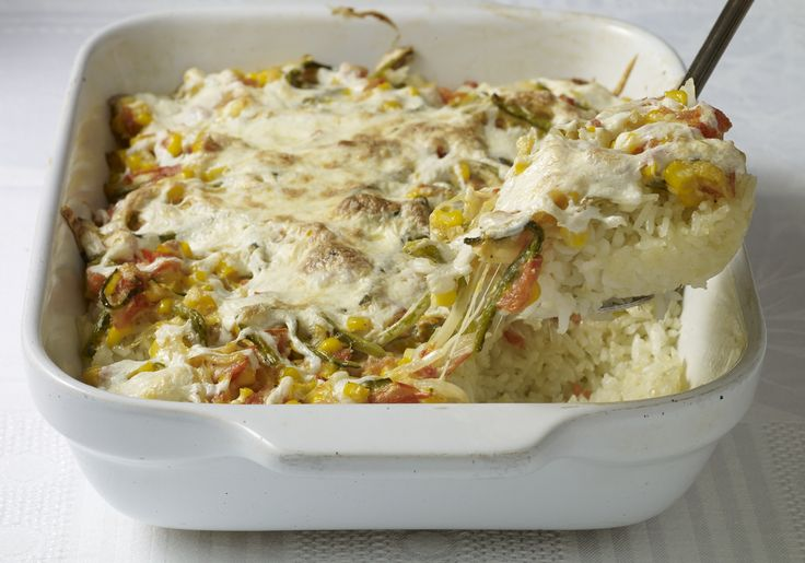 White Rice and Poblano Rajas Casserole