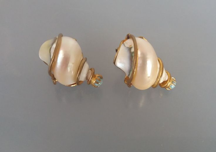 French Turbo Shell Earrings France 1950s Clip Ons Czech Glass SGDG UK Seller by SheWhoSparkles on Etsy