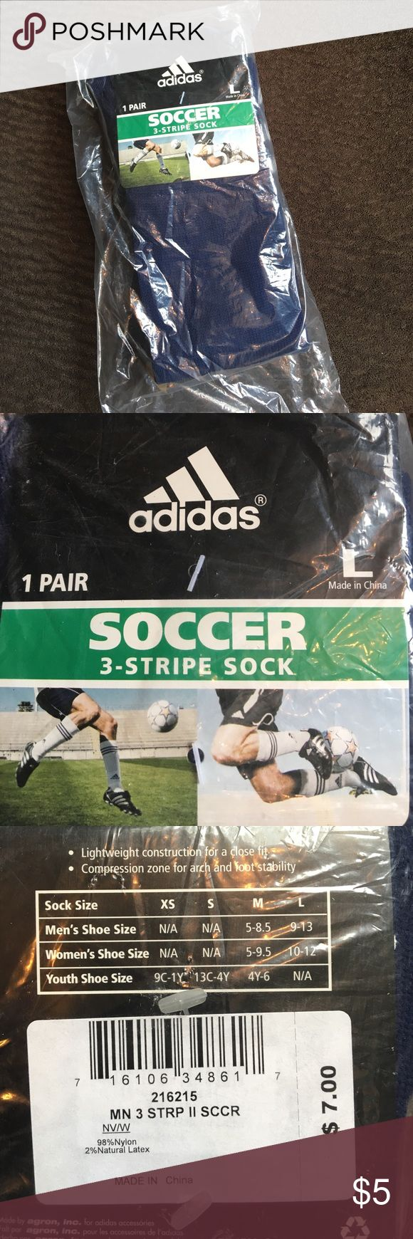 NWT Adidas Soccer Socks New in package navy and white striped soccer socks. Fits men size 9-13 and women size 10-12. adidas Underwear & Socks Athletic Socks