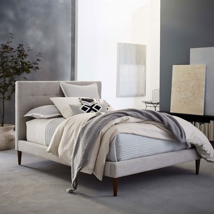 Grid Tufted Upholstered Tapered Leg Bed