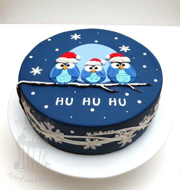 Christmas owls - by Tortentante @ CakesDecor.com - cake decorating website