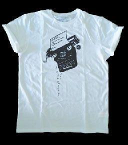 """Camiseta typewriter, máquina de escribir de la que """"se caen las palabras"""", objetos antiguos diseño dibujo ilustración draw"""