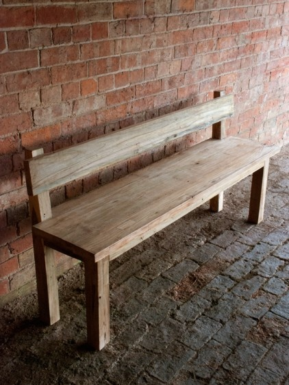 Kitchen Bench With Back - Reclaimed Teak....could hubby do this? I need a 3ft bench for the kitchen.