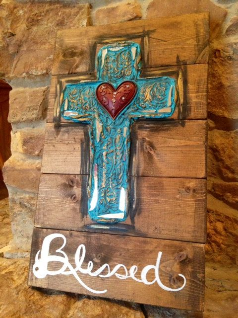 Rustic textured cross on stained wood Blessed by DesignsbyDarlaT