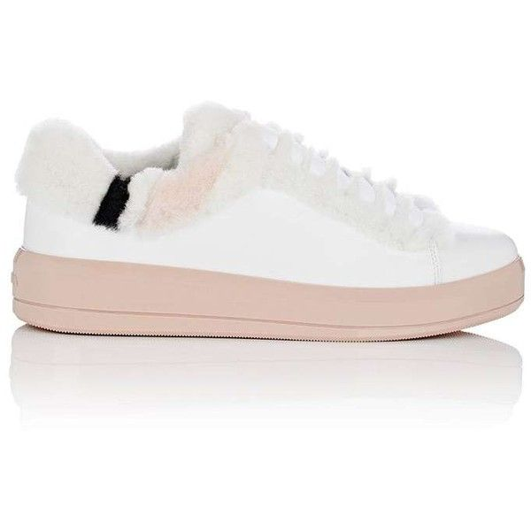Prada Women's Shearling-Trimmed Leather Sneakers ($690) ❤ liked on Polyvore featuring shoes, sneakers, lace up shoes, leather low top sneakers, leather trainers, leather lace up shoes and prada sneakers
