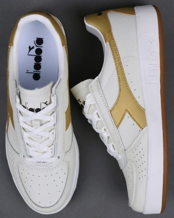 778ec343 Diadora Borg Elite L Trainers White/Gold,leather,b.elite,80s Casuals ...