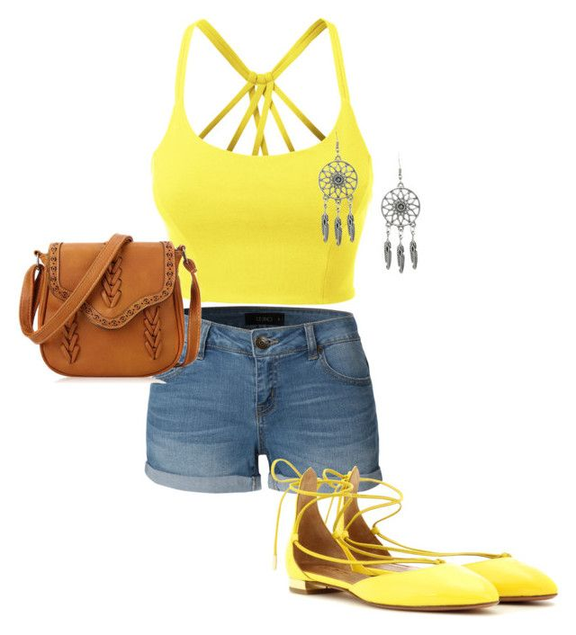 """Yellow summer"" by kdorisz on Polyvore featuring LE3NO and Aquazzura"