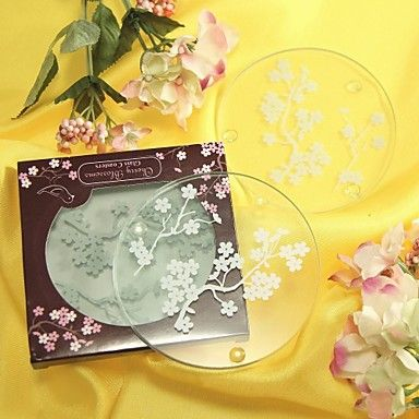 Cherry Blossoms Frosted Glass Coasters(set of 2) – GBP £ 1.31