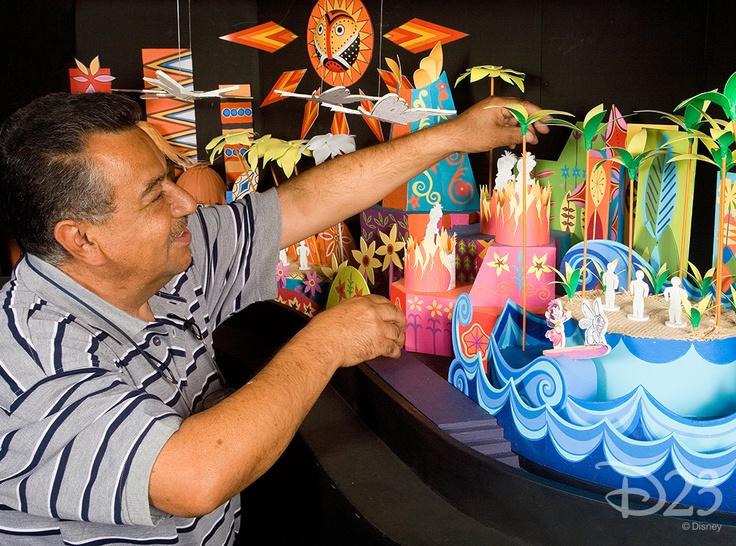 "Imagineer Miguel Aleman develops a model of ""it's a small world"" for Hong Kong Disneyland."