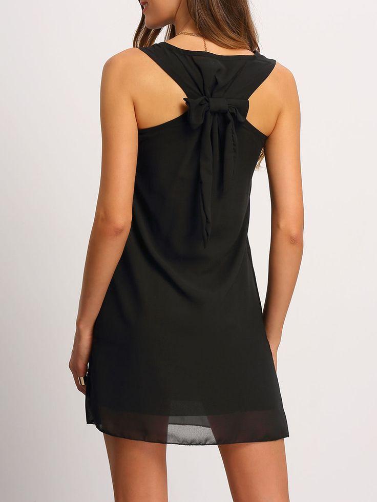 ¡Cómpralo ya!. Chiffon Bow Back Tank Dress. Black Cute Vacation Polyester Round Neck Sleeveless Shift Short Bow Plain Summer Tunic YES Dresses. , vestidoinformal, casual, informales, informal, day, kleidcasual, vestidoinformal, robeinformelle, vestitoinformale, día. Vestido informal  de mujer   de SheIn.