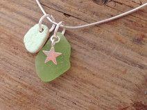 "925 Silber Kette mit Meerglas ""Lucky Green"""