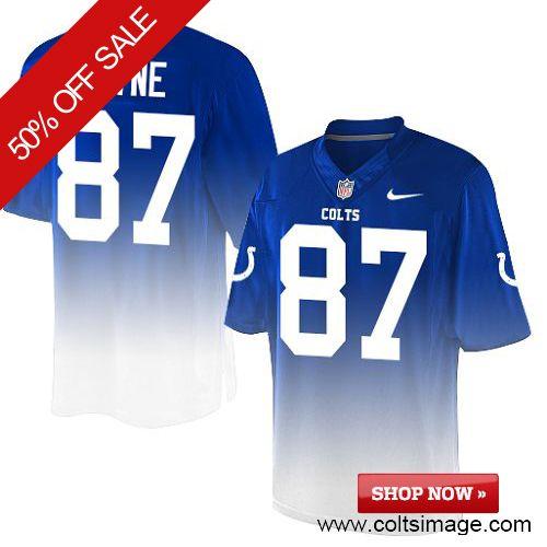 $129.99 Men's Nike Indianapolis Colts #87 Reggie Wayne Elite Royal Blue&White Fadeaway 30th Seasons Patch NFL Jersey