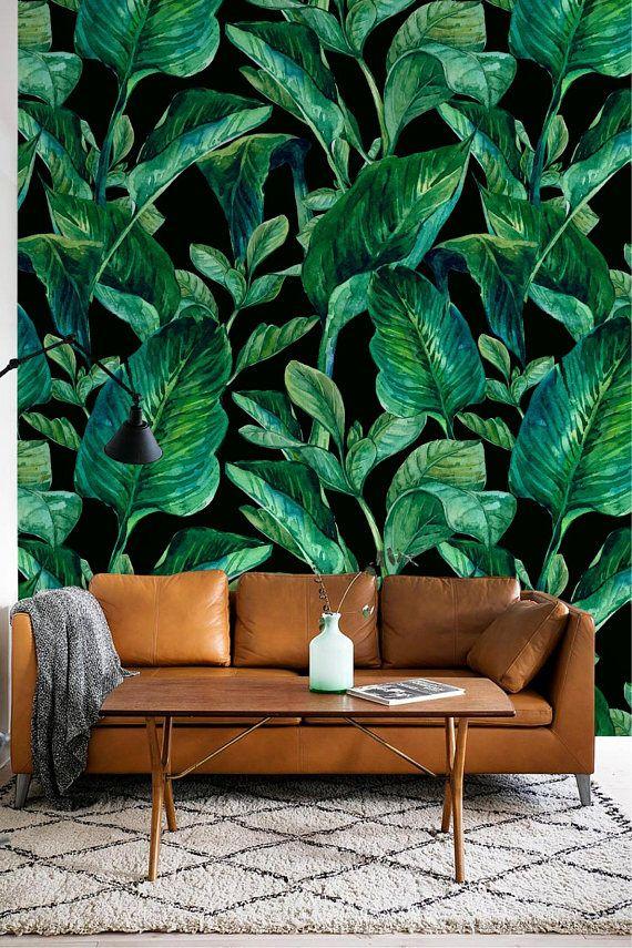 Wallpaper With Green Watercolor Banana Leaves Pattern Etsy Living Room Green Green Wallpaper Green Leaf Wallpaper