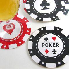 Cadeau alcool Homme Set 6 dessous de verre rond jetons de poker casino lot de 6 sous-bock rond sous-verre