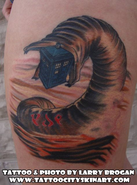 dune sandworm tardis klingon nerd geek tattoo by larry brogan tattoo city lockport il www. Black Bedroom Furniture Sets. Home Design Ideas